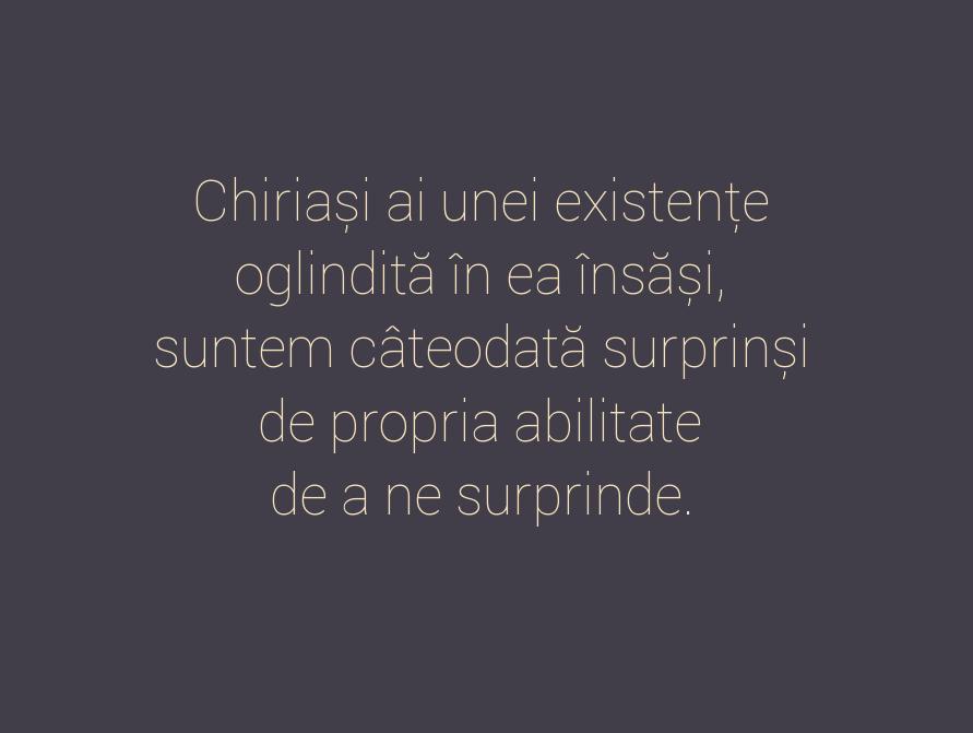 Chiriași ai unei existențe \n oglindită în ea însăși, \n suntem câteodată surprinși \n de propria abilitate \n de a ne surprinde.
