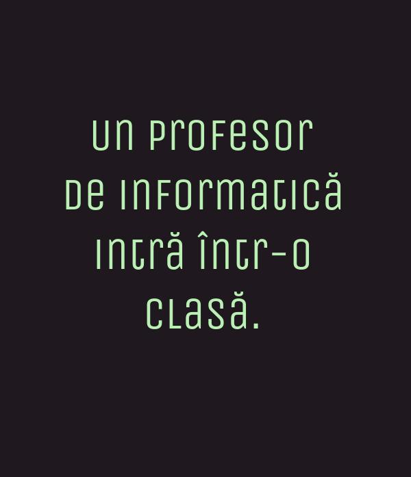 Un profesor de informatică intră într-o clasă.