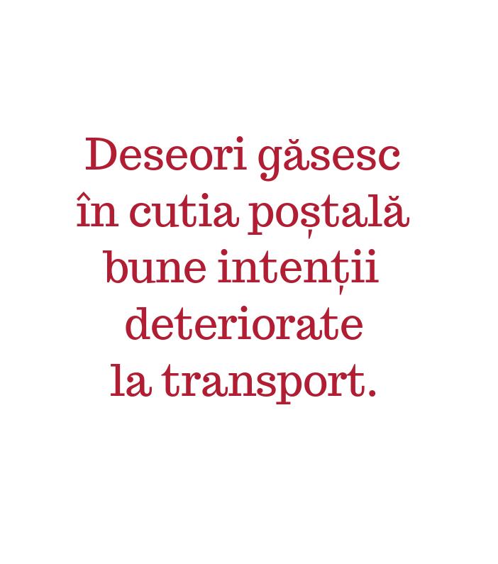 Deseori găsesc\\n în cutia poștală\\n bune intenții\\n deteriorate\\n la transport.