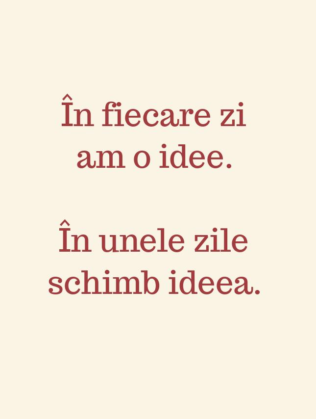 În fiecare zi am o idee.\\n\\n În unele zile schimb ideea.